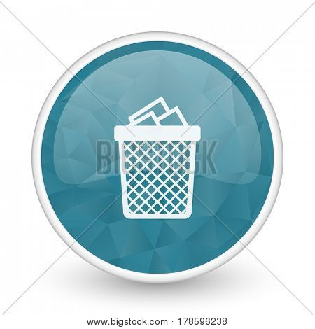 Trash can brillant crystal design round blue web icon.