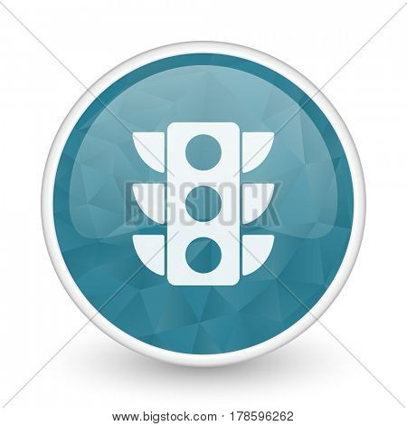 Traffic lights brillant crystal design round blue web icon.