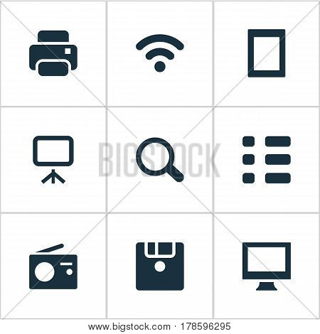 Vector Illustration Set Of Simple Device Icons. Elements Search, Photocopier, Projector And Other Synonyms Fm, Wireless And Disk.