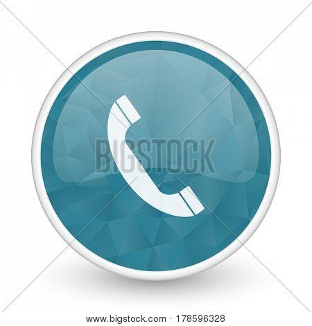Phone brillant crystal design round blue web icon.