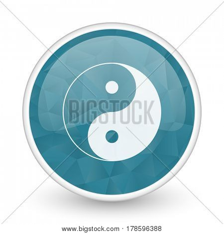Ying yang brillant crystal design round blue web icon.