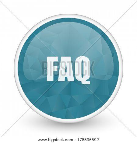 Faq brillant crystal design round blue web icon.