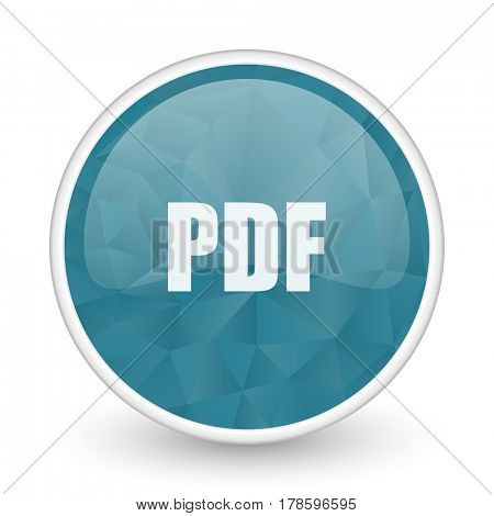 Pdf brillant crystal design round blue web icon.