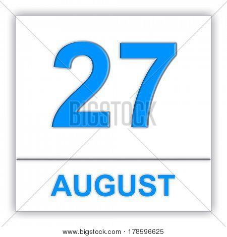 August 27. Day on the calendar. 3D illustration