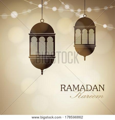 Illuminated arabic lamps, lanterns with string of lights., golden vector illustration background for Muslim community holy month Ramadan Kareem.