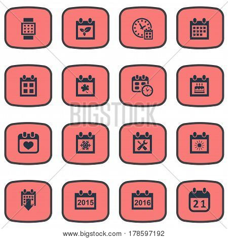 Vector Illustration Set Of Simple Date Icons. Elements Reminder, Agenda, Deadline And Other Synonyms Reminder, Clock And Annual.