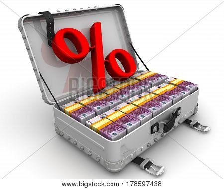 Beneficial interest. Business concept. Red percentage sign and a suitcase filled with packs of European currency. Isolated. 3D Illustration