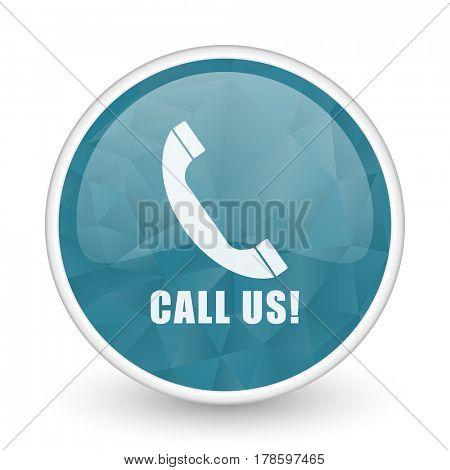Call us brillant crystal design round blue web icon.