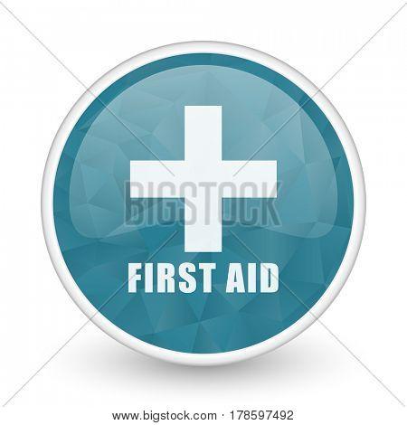 First aid brillant crystal design round blue web icon.