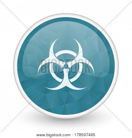 Biohazard brillant crystal design round blue web icon.