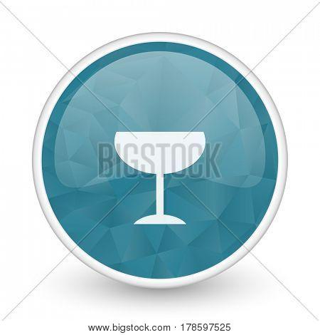 Alcohol  brillant crystal design round blue web icon.