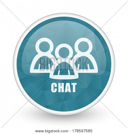 Chat brillant crystal design round blue web icon.