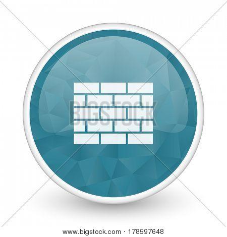 Firewall brillant crystal design round blue web icon.
