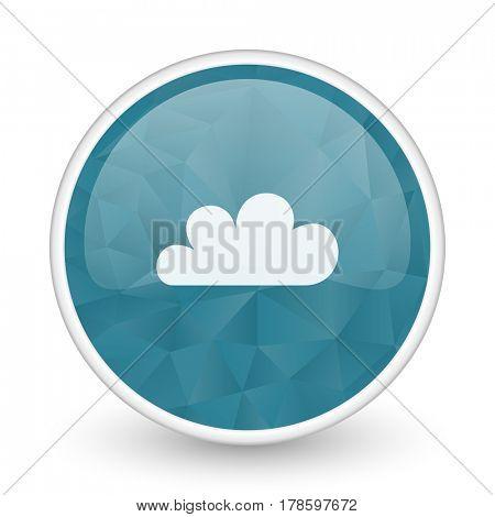 Cloud brillant crystal design round blue web icon.