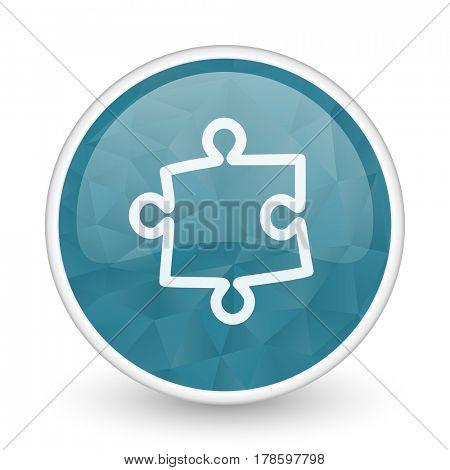 Puzzle brillant crystal design round blue web icon.