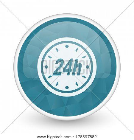 24h brillant crystal design round blue web icon.