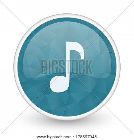 Music brillant crystal design round blue web icon.