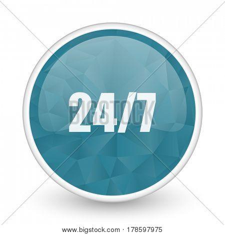 24/7 brillant crystal design round blue web icon.