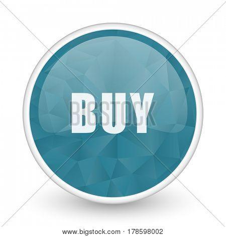 Buy brillant crystal design round blue web icon.