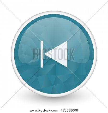 Prev brillant crystal design round blue web icon.