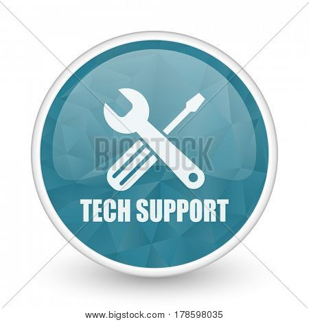 Technical support brillant crystal design round blue web icon.
