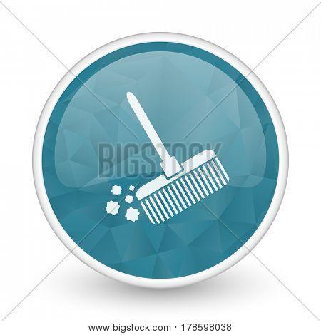 Broom brillant crystal design round blue web icon.