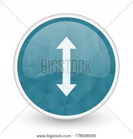 Arrow brillant crystal design round blue web icon.