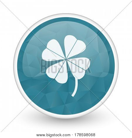 Four-leaf clover brillant crystal design round blue web icon.