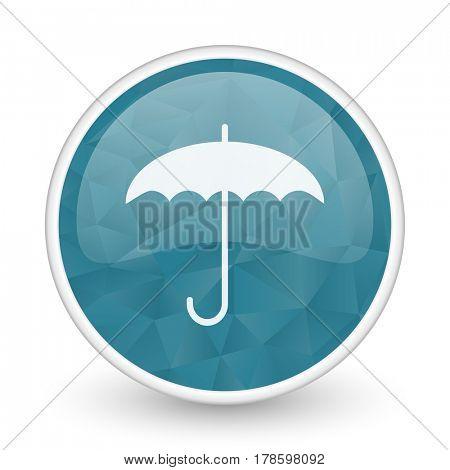Umbrella brillant crystal design round blue web icon.