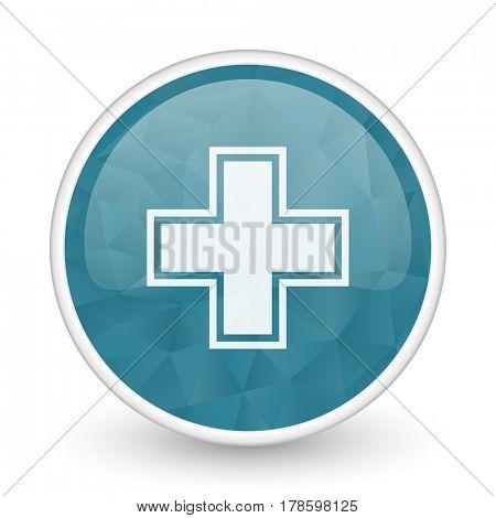 Pharmacy brillant crystal design round blue web icon.