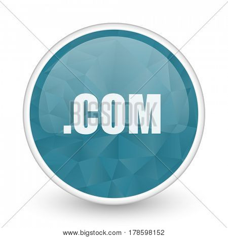 Com brillant crystal design round blue web icon.