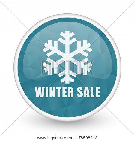 Winter sale brillant crystal design round blue web icon.