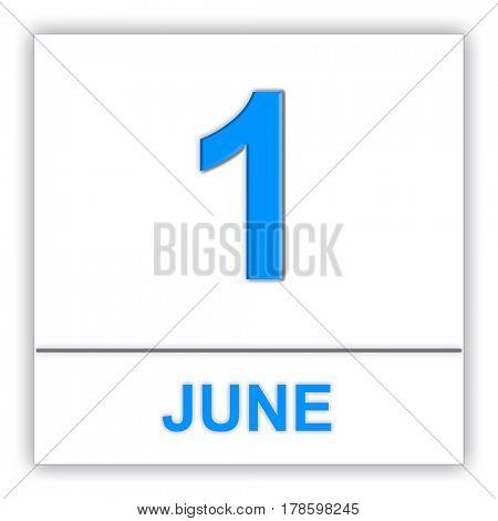 June 1. Day on the calendar. 3D illustration