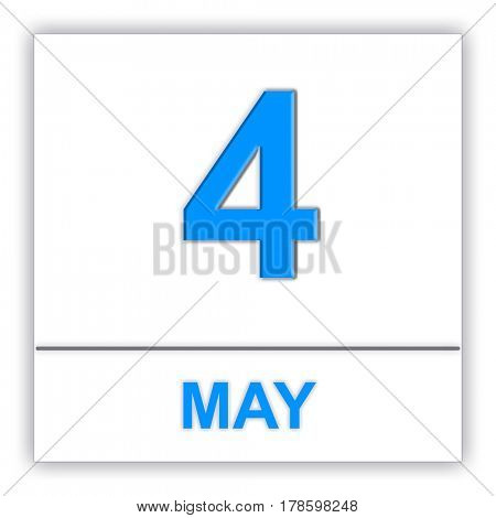 May 4. Day on the calendar. 3D illustration