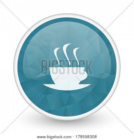 Espresso brillant crystal design round blue web icon.
