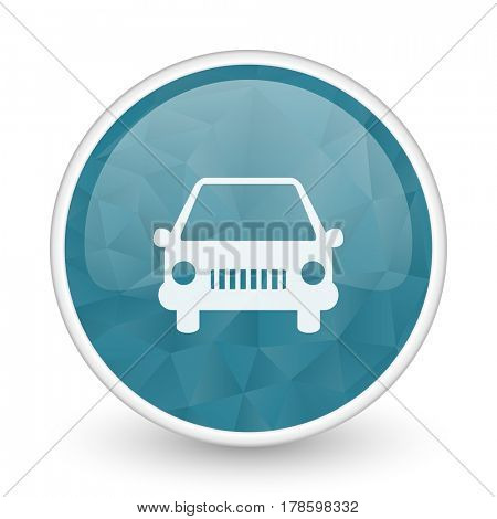 Car brillant crystal design round blue web icon.