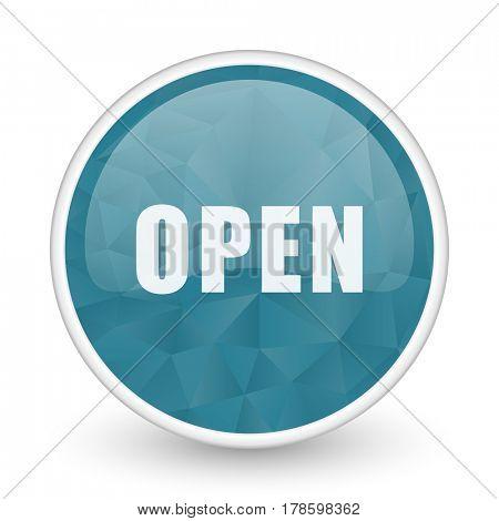 Open brillant crystal design round blue web icon.