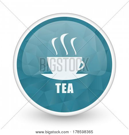 Tea brillant crystal design round blue web icon.