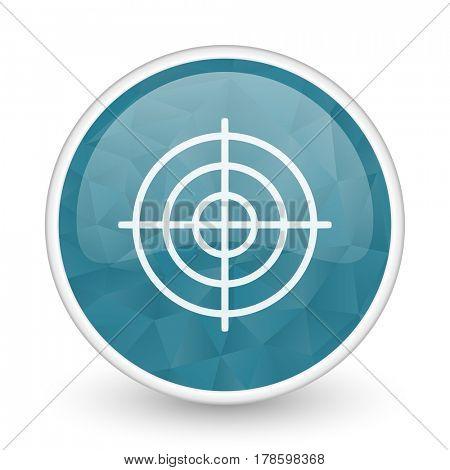Target brillant crystal design round blue web icon.