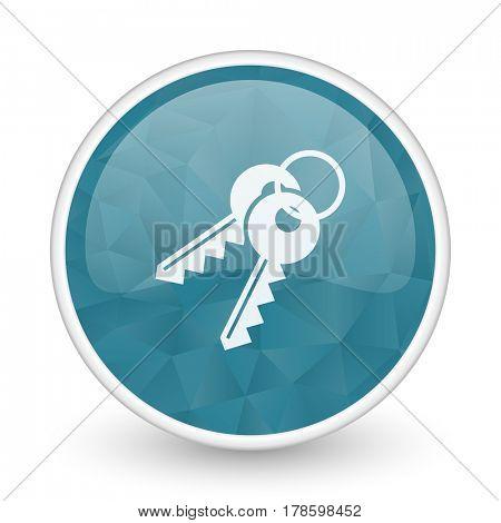 Keys brillant crystal design round blue web icon.
