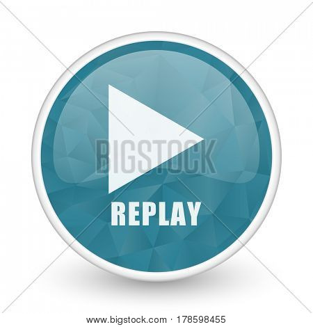 Replay brillant crystal design round blue web icon.
