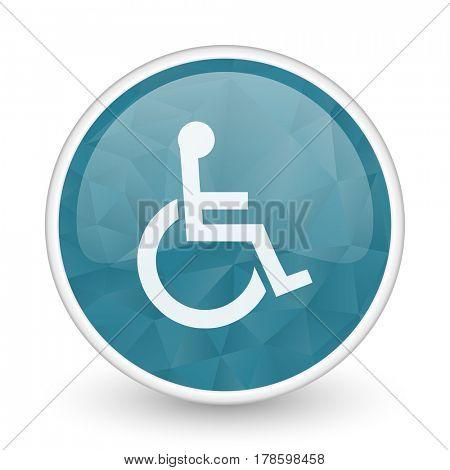 Wheelchair brillant crystal design round blue web icon.