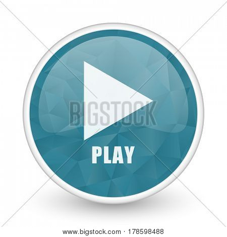 Play brillant crystal design round blue web icon.