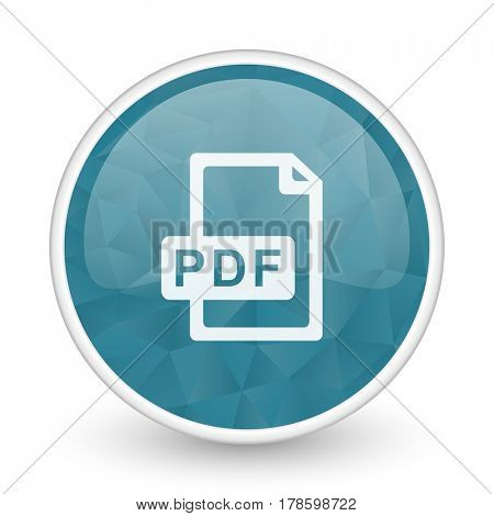 Pdf file brillant crystal design round blue web icon.