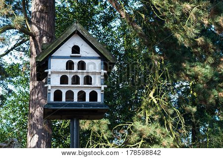 White colored wooden pigeon house in a park