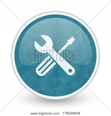 Tools brillant crystal design round blue web icon.
