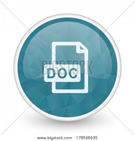 Doc file brillant crystal design round blue web icon.