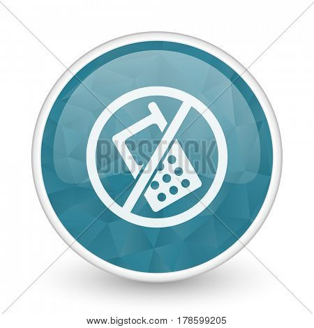 No phone brillant crystal design round blue web icon.