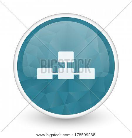 Database brillant crystal design round blue web icon.