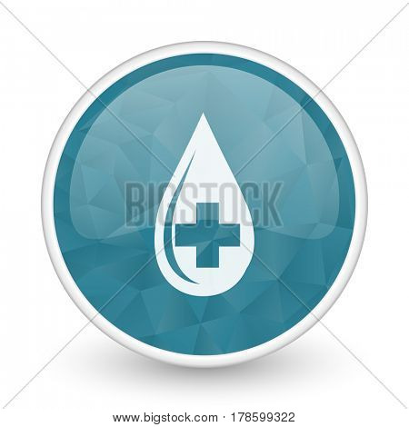 Blood brillant crystal design round blue web icon.